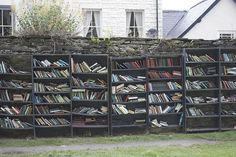 """The """"Honesty Bookshop"""" in Hay-on-Wye (photograph by Zach Beauvais) Outdoor Shelves, Little Free Libraries, Free Library, Beautiful Library, Fairytale Castle, Reasons To Live, Book Lovers, Beautiful Places, Places To Visit"""