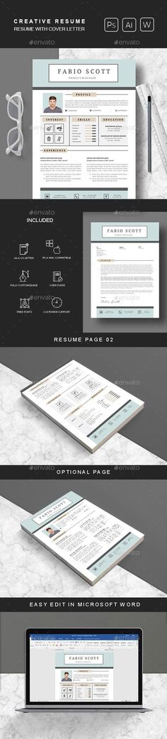 Resume  Cover Letter Template by Hito Graphic on @creativemarket