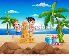 "Stock vektor ""Happy Two Boys Making Sand Castle"" (bez autorských poplatků) 1249403563 Castle, Boys, Beach, Happy, Outdoor Decor, Image, Products, Baby Boys, The Beach"