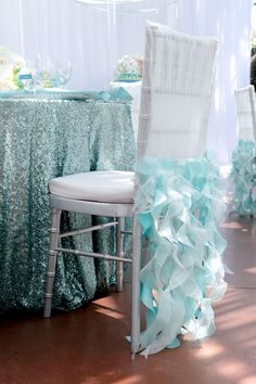 Awesome Tiffany Blue Wedding Decorations ★ tiffany blue wedding decorations elegant ruffles on chair and glotter tablecloth white lilac Mermaid Bridal Showers, Beach Bridal Showers, Blue Wedding Decorations, Reception Decorations, Event Decor, Mermaid Table Decorations, Sequin Tablecloth, Blue Bridal, Mod Wedding