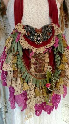 Handmade-Vintage-Lace-Crochet-Shoulder-Bag-Victorian-Gypsy-Fringe-Purse-tmyers