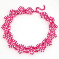 Chrysanthemum Cluster Rhinestone Necklace - Rose