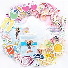 Sunshine Summer Layout (How to Back a Cut File Tutorial) (Paige Taylor Evans) Scrapbook Page Layouts, Scrapbook Cards, Wedding Scrapbook, Friend Scrapbook, Scrapbook Journal, Project Life, Prima Watercolor, Creative Memories, Scrapbook Embellishments