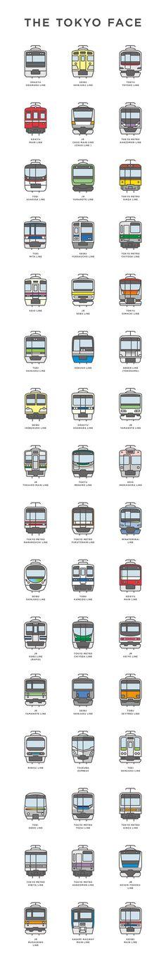 """THE TOKYO FACE 世界一複雑といわれている東京の交通システム。そんな東京を走る数々の電車のバラエティに富んだ""""顔""""をアイコン化し、アートとて楽しむ試み。 ARATA TAKEMOTO DESIGN takemotodesign.tumblr.com"""