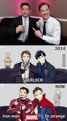Geek Discover RDJ and Benedict Cumberbatch were both acting as Sherlock Holmes. Now they are in Marvel together. Heros Comics Marvel Dc Comics Johnlock Film Anime Die Rächer Doctor Who Mrs Hudson Dc Memes Funny Memes Marvel Dc Comics, Marvel Avengers, Marvel Jokes, Marvel Fanart, Hero Marvel, Funny Marvel Memes, Dc Memes, Meme Comics, Superman Hero