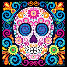 Day of the Dead Art: A Gallery of Colorful Skull Art Celebrating Dia de los Muertos — Art is Fun Sugar Skull Wallpaper, Sugar Skull Artwork, Sugar Skull Painting, Sugar Skulls, Sugar Skull Drawings, Aztec Wallpaper, Candy Skulls, Small Canvas Art, Easy Canvas Painting