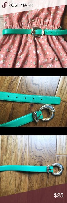 Vintage teal turquoise belt🌈 Super cute and in excellent condition belt!  vintage with adorable gold belt buckle. Has very minor flaws near belt holes that are shown in the picture. Great condition for a vintage find. Belt is a small and measures 31.5 inches long. Happy shopping poshers! 🌝🌝 Vintage Accessories Belts