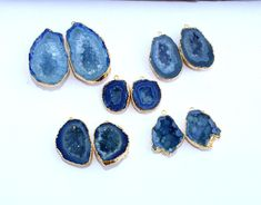 Excited to share the latest addition to my #etsy shop: 24Kt Gold Electroplated Edge Blue Druzy Geode Pair / Agate Geode Pair / Occo Half / Druzy Cave Pair For Earrings / You Select MDP23 http://etsy.me/2CKst5i #supplies #blue #jewelrymaking #gemstone #gold #electroplat