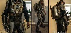 steampunk warrior by steamworker on DeviantArt Steampunk Outfits, Steampunk Costume, Steampunk Clothing, Steampunk Fashion, Steampunk Design, Steampunk Diy, Steampunk Robots, Homemade Hair Dye, Iron Man
