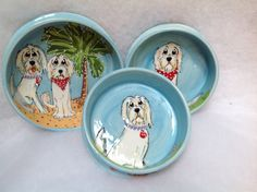 Hand painted Dog Bowls / Matching Set / Whimsical Golden doodle / Custom Dog Pottery / Debby Carman / Faux Paw Productions by FauxPawProductions on Etsy