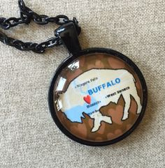Buffalo Map Necklace  Brown Buffalo Map by SilentMyloStudio