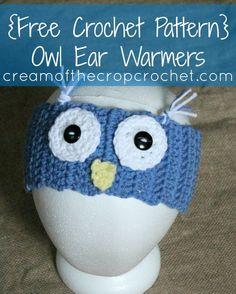 Owl Ear Warmers - free teen/adult pattern from Cream of the Crop Crochet.