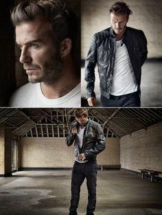 David Beckham in a photoshoot for Mr Porter wearing Belstaff