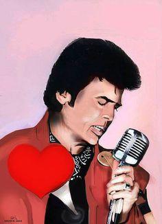 """Little Tony (""""Il Cuore Matto"""" - """"The Crazy heart"""")  Realistic Drawing  90x70"""