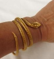 18k Gold Victorian Egyptian Revival Coiled Snake Serpent Cuff Bracelet~Ruby Eyes