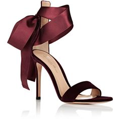 Gianvito Rossi Women's Gala Velvet Ankle-Tie Sandals ($895) ❤ liked on Polyvore featuring shoes, sandals, heels, leather sole shoes, ankle strap shoes, open toe heel sandals, open toe high heel shoes and leather sole sandals