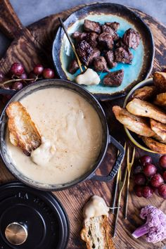 Smoky 3 Cheese Fondue with Toasted Garlic Buttered Croissants. by Half Baked Harvest Fromage Emmental, Butter Croissant, Fondue Party, Truffle Oil, Half Baked Harvest, Cheese Lover, Thanksgiving Appetizers, Thanksgiving Recipes, Garlic Butter