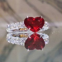 This Heart Shaped Ruby Ring is truly represented symbol of love ~ Skuwandi