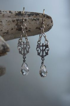 Vintage assemblage earrings sterling rosary centers with faceted crystal briolettes by frenchfeatherdesigns