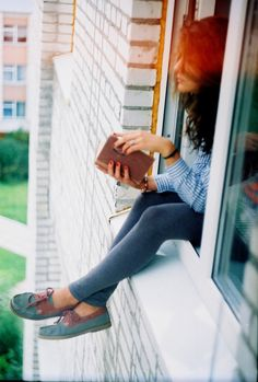 girl, window, building, reading, photography