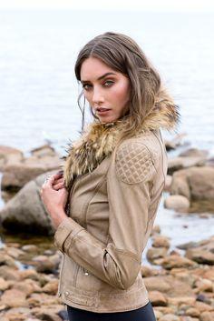Model Wears Montreal Faux Fur Leather Jacket, size 8