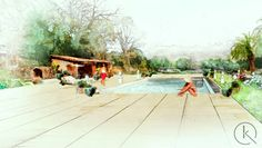 French garden swimming pool
