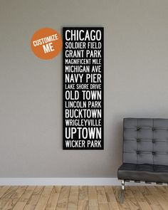 """This Chicago subway style decor makes a statement with it's bold type, canvas gallery wrap, and up to 20""""x60"""" size. A vintage throw back to classic Chicago subway and bus scroll signs of the early 190"""