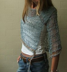 Sky Blue linen and cotton poncho cape LAST ONE in this shade. $95.00, via Etsy.