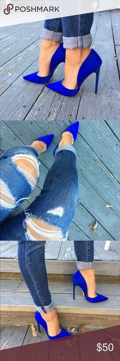 Electric royal blue heels Brand new never worn. Size 5.5 but fit like a 6 Shoes Heels