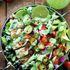 Grilled Chicken Taco Salads with Spicy Cilantro Lime Dressing! . Made by the lovely Tiffany @cremedelacrumb1
