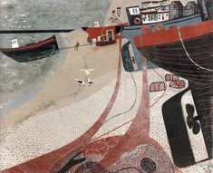 Fishing Boats on Hastings Beach #linocut #relief