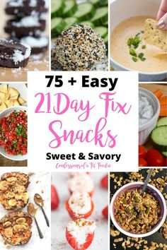 Looking for a 21 Day Fix Snack? Here's a list of 75 Healthy Snack Ideas for the 21 Day Fix to curb both your sweet and salty/savory cravings! 21 Day Fix Snacks, 21 Day Fix Diet, 21 Day Fix Meal Plan, 21 Day Clean Eating Challenge, Healthy Salty Snacks, Savory Snacks, Healthy Eats, Fixate Recipes, Healthy Recipes