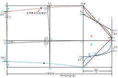 ◆ 소매 패턴 그리는방법 원피스 소매 패턴을 그리는 방법은 디자인에 따라 여러 종류가 있으나 여기서는 한장의소매로 두장 소매의 느낌이나는 소매의 패턴 뜨는방법을 설명하겠습니다. 소매통 : 55~66사이즈=33~34cm 77~88사이즈=35~36cm