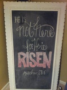 Easter chalkboard. He is not here for he is risen!