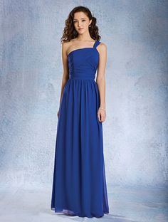 Alfred Angelo Style 7358L: floor length bridesmaid dress with draped natural bodice and ruched shoulder strap