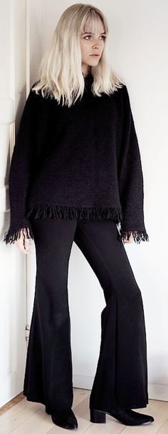 Marie Jedig Black Flare Trousers Black Fringed Top Fall Inspo #Fashionistas