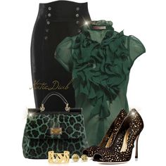 Work outfit with a twist. Leopard Handbag, Love Fashion, Fashion Trends, Green Fashion, Fashion Ideas, Classy And Fabulous, Stylish Outfits, Dressy Outfits, Types Of Fashion Styles