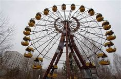 A ferris wheel remains abandoned in the empty town of Pripyat, Ukraine, near the Chernobyl nuclear power plant.