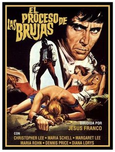 "The Bloody Judge (1970) Il trono di fuoco (original title) Stars: Christopher Lee, Maria Schell, Leo Genn, Maria Rohm ~ Director: Jesús Franco  (aka ""Night of the Blood Monster"") (Spanish Poster)"