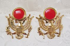 80s Vintage Earrings Red Military Inspired by KKCollectibleCollage, $3.50 https://www.etsy.com/listing/158878456/80s-vintage-earrings-red-military