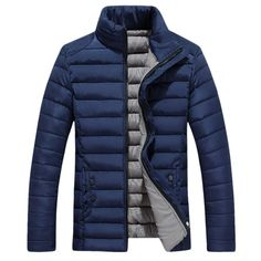 Godeyes Mens Warm Thick Stand Collar Single-Breasted Quilted Outwear