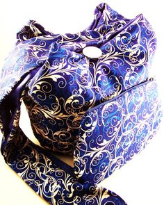 Royal Blue and White Cross body Hobo Bag and by TrampLeeDesigns