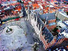 Bruges, Belgium - Market Square as Seen From the Top of the Belfry Tower