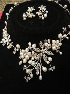 Elegant Pearl Crystal Necklace Earrings by ElegantGiftsAndDecor