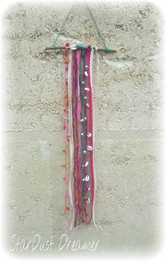 Bohemian Bell Chain Hanging 1 Boho wooden driftwood hanging with silver bell chain for clearing negative energy. Teal twine hanger, with shell chain, crystals, wool fabric and lace.