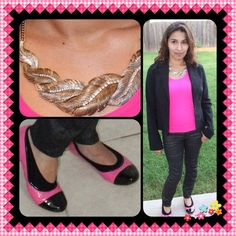 Hot pink tank with printed black jeans