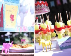 Girly Zoo Themed 3rd Birthday Party - painted plastic animals
