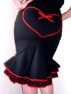 Black and Red Pin-Up style fishtail skirt with polka dot frill and heart on the rear!                                etsy.com