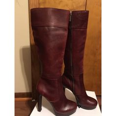 Gianni bini boots! Tall, maroon Gianni bini boots! They have minor wearing on one of the heels (picture included). Gianni Bini Shoes Heeled Boots