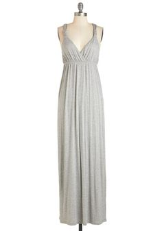 What's Knot to Like? Dress. Everything about this heather-grey maxi dress fills you with delight - and its no surprise! #gold #prom #modcloth